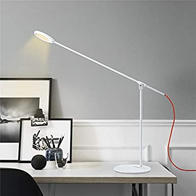 Swing Arm Lamp,LED Desk Lamp,Eye-Caring Table Lamps,Task Lamps 3 Color Temperature Memory Function 4 Brightness Levels,Modern Architect Table Lamp for Task Study Reading Working/Home Dorm Office,White