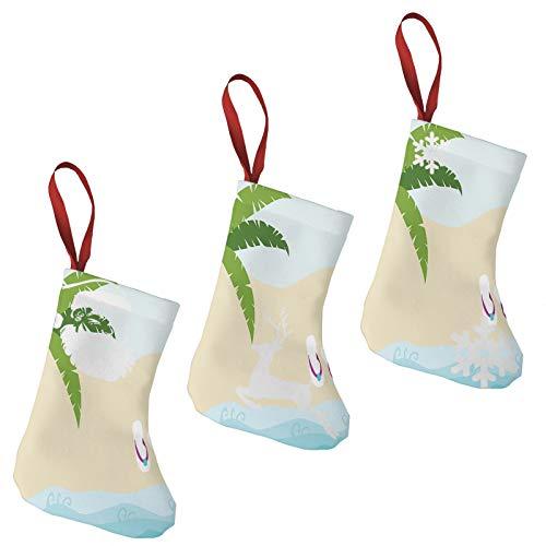 FULIYA Christmas Stockings Xmas Fireplace Hanging Stockings,Sweet Summer Cartoon of Palm Tree and Flip Flops on Sandy Ocean Coast Print,Decoration Stockings for Christmas Decoration DIY Craft