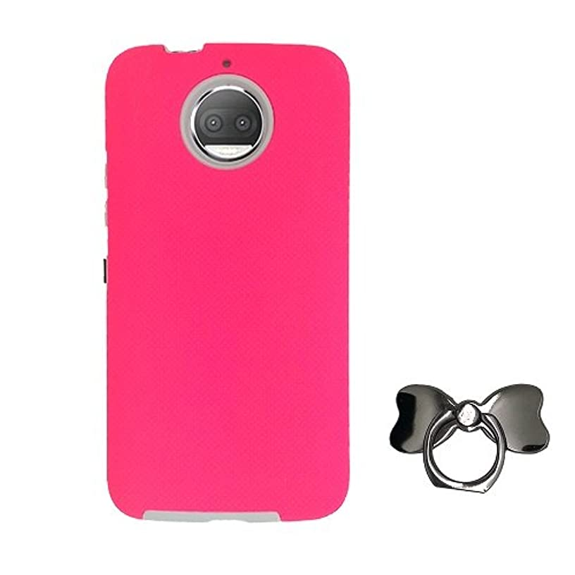 Phone Case Motorola Moto G5S Plus Unlocked Smartphone, Rubberized Hard Dual Layer Cover Case + Finger Ring Holder 360° Rotation Ring Stand (Metallic Gray Bowknot) (Pink)