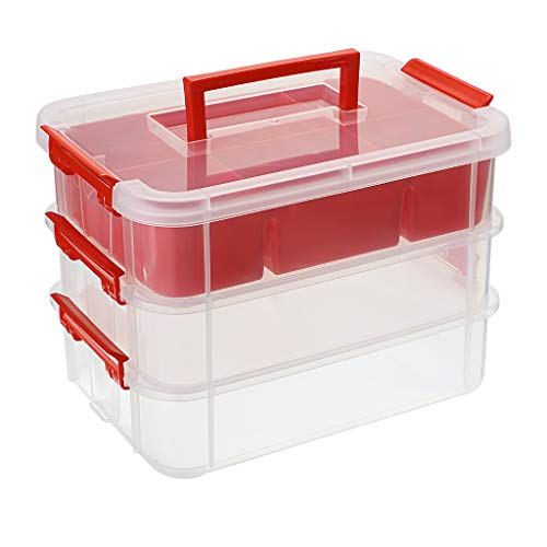 BTSKY 3 Layer Stack & Carry Box, Plastic Multipurpose Portable Storage Container Box Handled Organizer Storage Box with Removable Tray for Organizing Sewing, Art Craft, Supplies Red