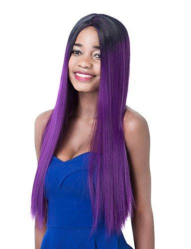jiayy perruque du Parti de la manière synthétique droite longue violet de la pente partie centrale, 28 Inch