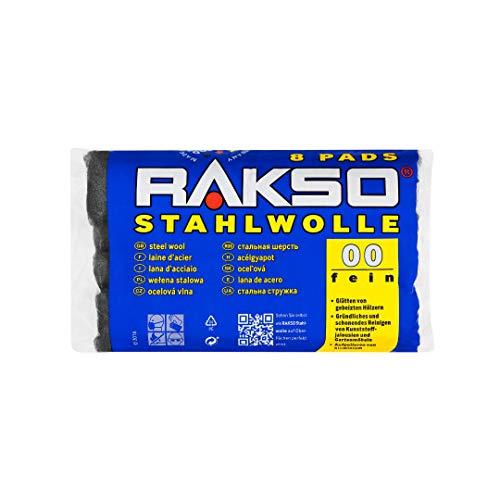 RAKSO Stahlwolle fein 00, glättet Hölzer, Reinigung Kunststoffjalousien, Gartenmöbel, Aluminium aufpolieren, 8 Pads 200g