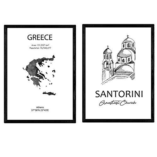 Pack de Posters de Paises y monumentos. Mapa Grecia y Monumento Santorini. Tamaño A4