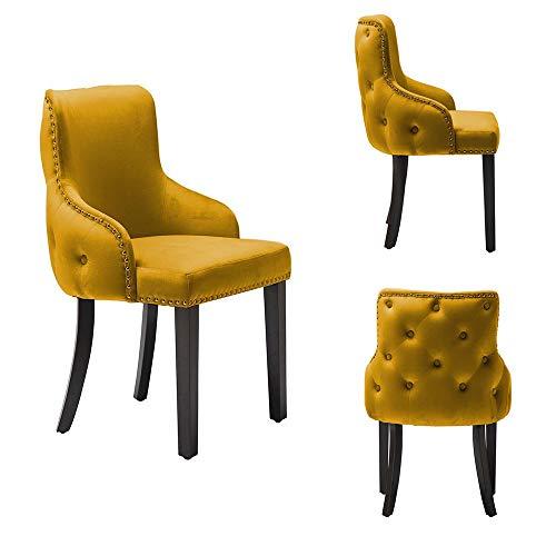 PS Global Set mit 2 luxuriösen Esszimmerstühlen, einfache Montage, Chromnieten, getuftete Rückseite, tiefer Knopfrücken, Plüschsamt (Senf)