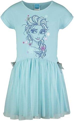 Disney Frozen Elsa Little Girls Short Sleeve Dress Mesh Skirt Bow 6 7 Blue product image