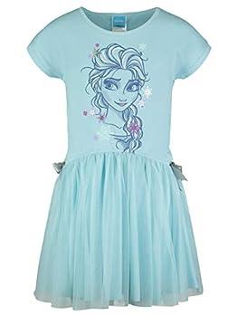 Disney Frozen Elsa Little Girls Short Sleeve Dress Mesh Skirt Bow 4-5 Blue
