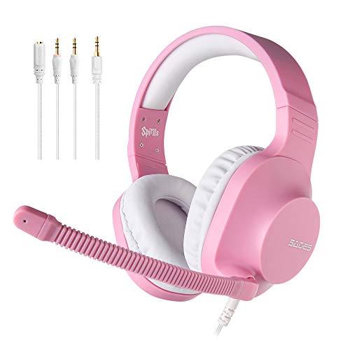 SADES Headset für Mädchen, Spirits Over-Ear-Stereo-Headset mit Mikrofon und Lautstärkeregelung, Y-Adapter, Bequeme Ohrmuscheln, für PC, Laptop, Mac, PS4, Nintendo Switch,Rosa