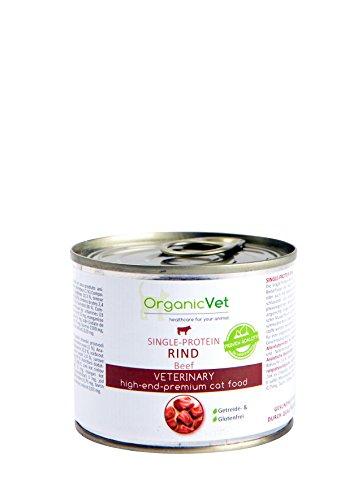 ORGANICVET Katze Nassfutter Veterinary Single-Protein Rind, 6er Pack (6 x 200 g)