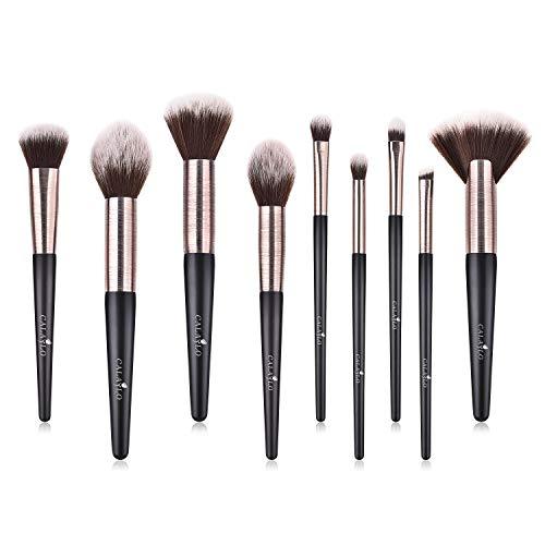 Makeup Brush Set 9pcs Blending Makeup Brushes Powder Brush Foundation Liquid Creamy Makeup Brush Kits for Eyeshadow Concealers Contour Blush Eyebrow Highlight Conical Brush.