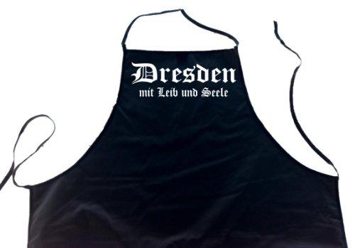 ShirtShop-Saar Dresden mit Leib und Seele; Städte Schürze (Latzschürze - Grillen, Kochen, Berufsbekleidung, Kochschürze), schwarz