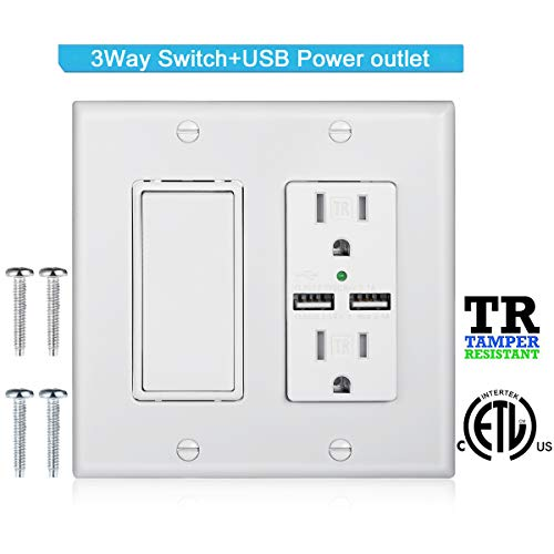 DBillionDa 3-Way Light Switch,USB Outlet Wall Plate(3.1A highspeed Charge) with Decorator Rocker Light Switch, 15A 120V/277V, 3 Wire, Grounding Screw, UL Listed, White