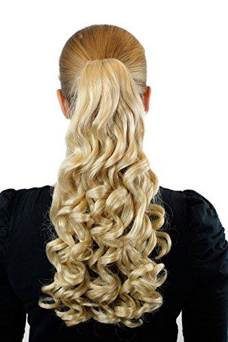 Postiche couette / tresse blond clair env. 45 cm, boucles, clip pince papillon XF-0070-24B