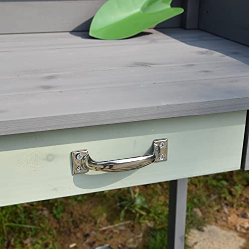 Wooden Potting Bench with Sink and Drawer-L 36.22 W 16.73 H 47.63 inches