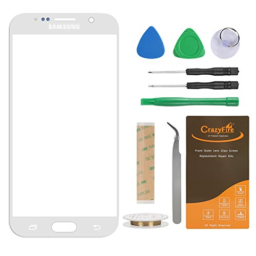 for Samsung Galaxy S6 Front Outer Lens Glass Screen Replacement,CrazyFire Repair Kit with 1MM Adhesive Tape +Tools Kit+ 1 Pair Tweezers+1 Roll Micro Wire for G920A G920P G920T G920V G920R4 G920F