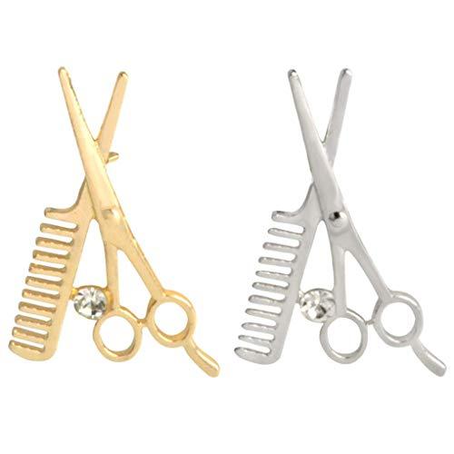 CoSunny Kamm Schere Revers Pin 2 Stück Set Barber Tools Emaille Brosche Pins Jacken Denim Hemdkragen Zubehör Geschenke