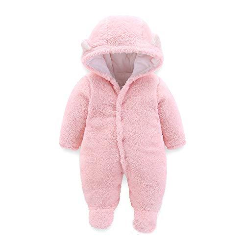 Blivener Newborn Baby Winter Jumpsuit Netter Bär Baby Fleece Schneeanzug Jacke Baby Warm Strampler Pink (6-9 Monate)