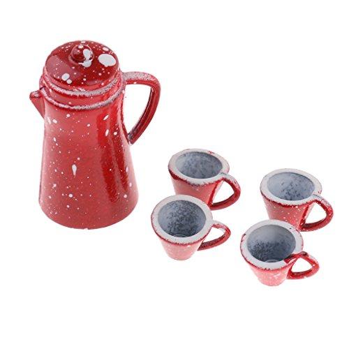 Caraffa Bollitore Caffe con Tazza Teiera Vassoio Caffettiera Cucina Stoviglie Miniature