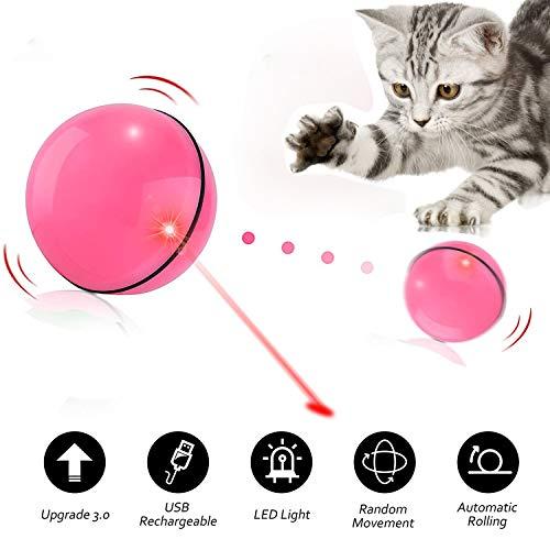 Bogeer Katzenspielzeug Intelligenzspielzeug, Katzen Elektrisch Spielsachen, Interaktives Katzen Spielezeug Beschaftigung, Katze Ball Automatische Rolling Wiederaufladbare Übungsbälle mit LED Licht