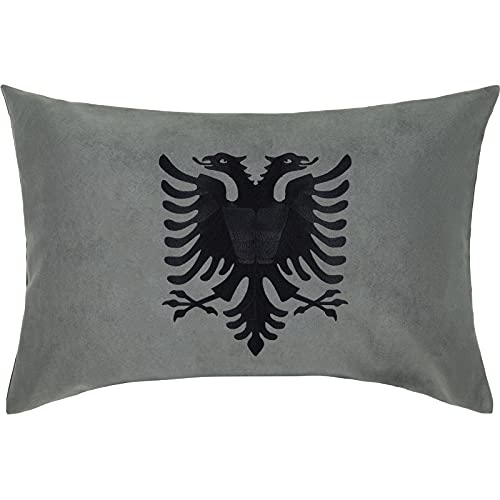 ALBANIEN Wappen Adler PREMIUM Kissen mit Bezug 40x60cm Flagge Tirana Eagle Dekokissen und Füllung Zierkissen SCHWARZ Fahne Albania Landeswappen Doppeladler Couch/-Sofakissen groß Polster