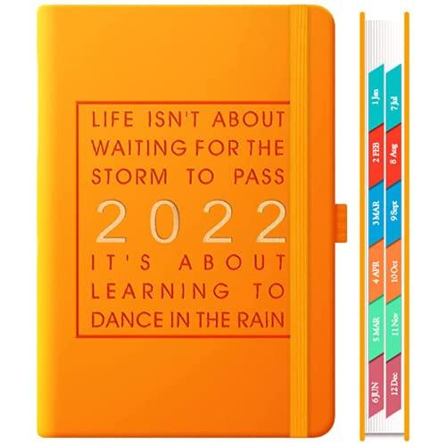 2021-2022 Week to View Planner A5, plan de 12 meses desde enero de 2022 hasta diciembre de 2022, plan, funda de piel sintética, etiqueta mensual, bolsa interior expandible, 21,5 x 15,5 x 1,5 cm
