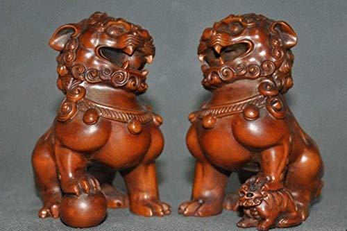 FTFTO Equipo de Vida Estatuas y estatuillas Adornos Madera de boj Talla de Madera Auspicioso Fengshui León Bestia Foo Perro Animal Un par
