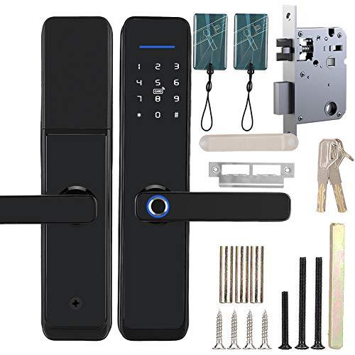 WiFi Cerradura electrónica de la manija de la puerta Contraseña Huella digital Tarjeta IC Trabajo remoto con contraseña virtual Tuya Diseñado, Identificación inteligente Fácil de instalar para el hoga
