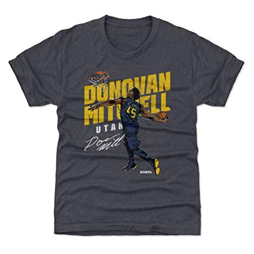 500 LEVEL Donovan Mitchell Utah Youth Shirt (Kids Shirt, Large (10-12Y), Tri Navy) - Donovan Mitchell Slam Y WHT