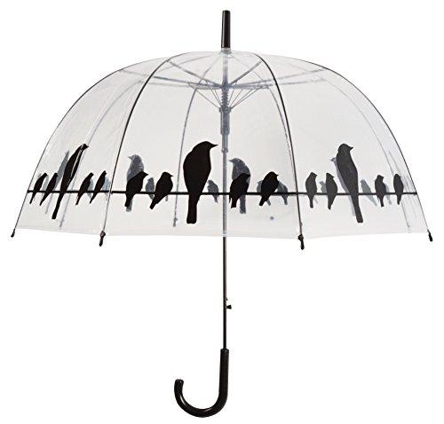Regenschirm mit Vögeln auf Drahtgeflecht