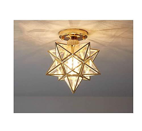Luces de techo, lámpara colgante decorativa de vidrio de diamante geométrico, corredor de barra de barra de barra de barro. (Color : Ceiling light Gold)