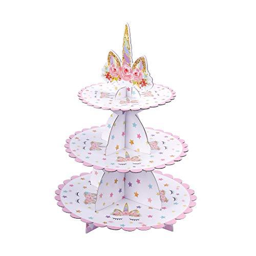 MengH-SHOP Soporte para Cupcakes 3-Tier Cartón Cupcake Stand Unicornio Redondo Soporte Postre para Bebé Shower Niños Fiesta Cumpleaños Party Temático