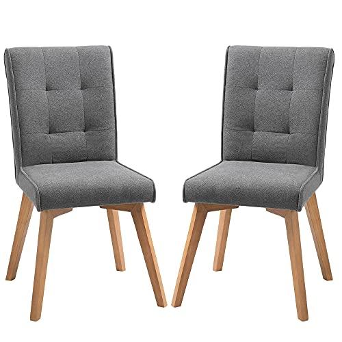 HOMCOM Esszimmerstühle 2er-Set mit Rückenlehne Leinen-Polyester-Gewebe Schaumstoff Gummiholz Grau 45 x 61,5 x 94 cm