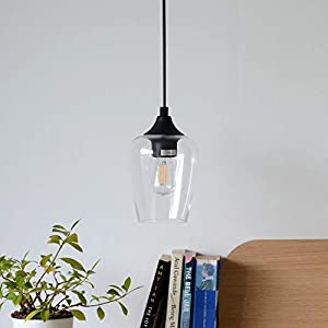 CO-Z Modern Industrial Small Glass Pendant Light, Hanging Farmhouse Ceiling Fixture, Black Metal Accents & Clear Glass Shade, Lighting for Kitchen Island, Dining Table, Bedroom & Hallway
