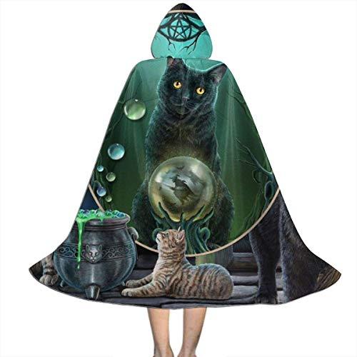 Amanda Walter Capa para nios Capa de Brujas Gatos Espejo mgico Gato Divertido Disfraces de Halloween con Capucha