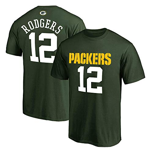 NFL Youth 8-20 Team Color Polyester Performance Mainliner Player Name and Number Jersey T-Shirt (Medium 10/12, Aaron Rodgers Green Bay Packers Green)