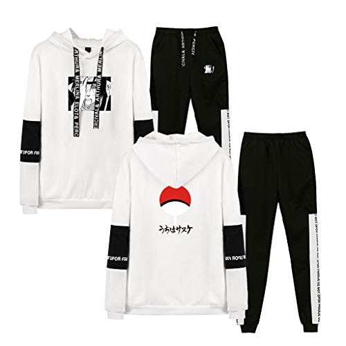 SAFTYBAY New Naruto Manga Hoodie and Sweatpants Costume Jacket Sweatshirt Jogger Pants Casual Sports Tracksuits for Men/Fans (D-White,4XL)