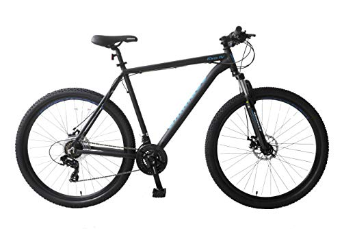 Ammaco. Evo IV 29' Wheel 29er Mountain Bike Hardtail Front Suspension Mechanical Disc Brakes 21 Speed Alloy 19' Frame Black/Blue
