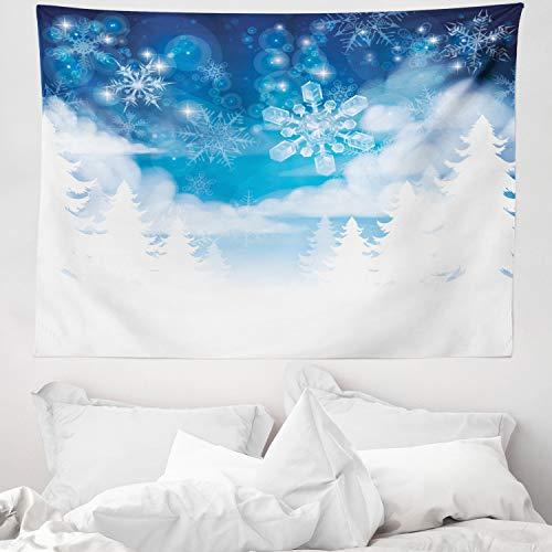 ABAKUHAUS Weihnachts Wandteppich & Tagesdecke, Schneeflocken & Sterne, aus Weiches Mikrofaser Stoff Modernster Digitaldruck Technologie, 150 x 110 cm, Rot & Blaugrün