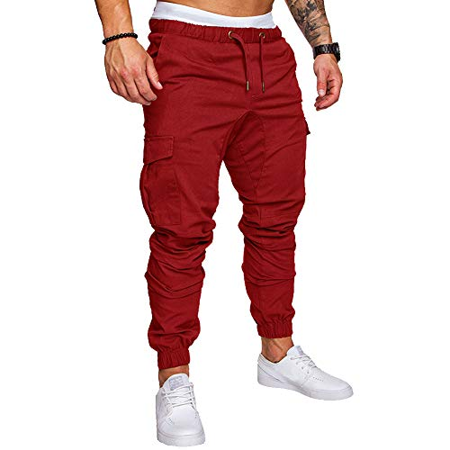 Cottory Mens Slim Fit Elastic Joggers Pants Fashion Basic Jeans Trousers Red Large
