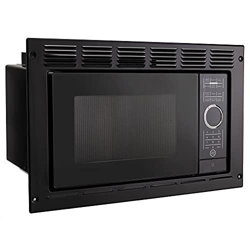 RecPro RV Microwave | .9 cubic ft Black Microwave with Trim Kit | 900 Watt (RPM-5-BLK) | Direct Replacement for Greystone