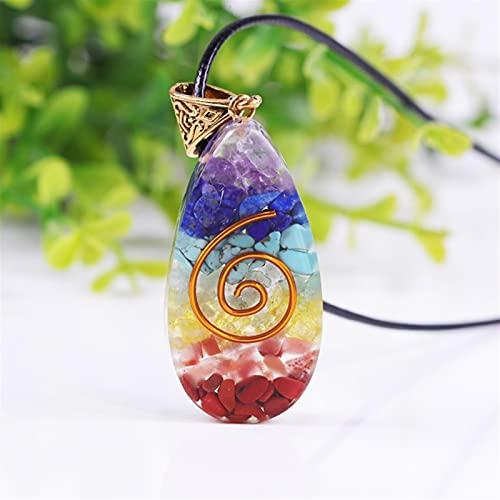 ACEACE Collares Colgantes de Piedra de Cristal Coloridos Amuleto Chakra Natural orgone Crystal Energy Collares (Length : 50CM)