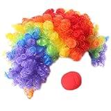 chenpaif Clown Set, Adult Kids Rainbow Colorful Afro Curly Clown Wig Peluca de Espuma roja Nariz Disfraz de Cosplay Mascarada mágica Suministros de Fiesta de Halloween Props Peluca + Nariz