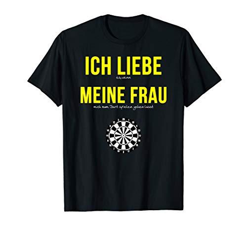 Herren Ich Liebe Meine Frau Darts Dartspieler Spruch T-Shirt