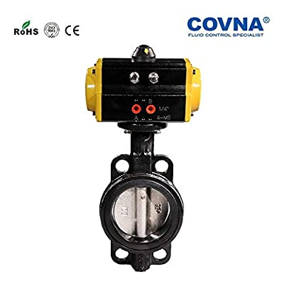 Fincos 3 inch CI Wafer Pneumatic Butterfly Valve Spring Return Cast Iron Body with Stainless Steel Disc EPDM Seat PN16 DIN Standard from Fincos