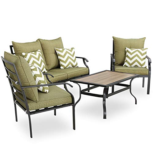 PatioFestival Patio Conversation Set 4 Pieces Cushioned Metal Outdoor Furniture Sets with Thick Cushions Pillows All Weather Frame (Green)