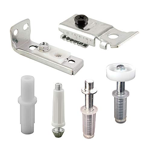 "PrimeLine N 7534 BiFold Door Hardware Repair Kit – Includes Top and Bottom Brackets Top and Bottom Pivots and Guide Wheel – Door Repair Kit for 1' to 13/8"" Thick Doors Up To 50 Lbs"