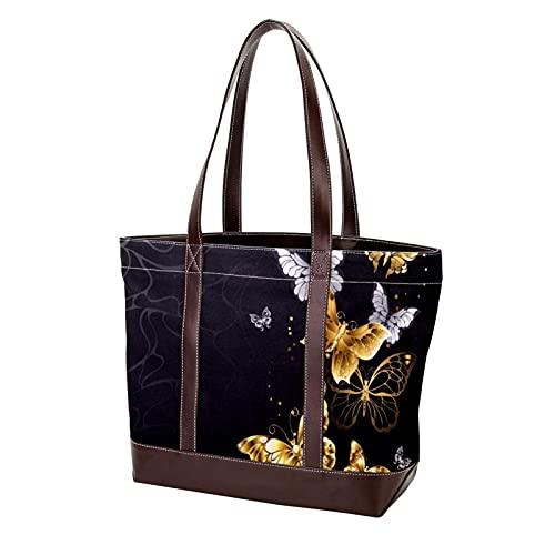 Bolso de mano para compras, bolsos de hombro, moscas de mantequilla blancas doradas, correa liviana negra para madres, mujeres, niñas, señoras, bolsos para estudiantes