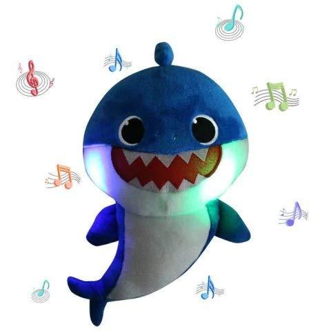 Lsxszz8-Weichem Plüsch Baby Shark Toy Weichem Plüsch Shark Cartoon Baby Mit Klang und Musik (Blue)