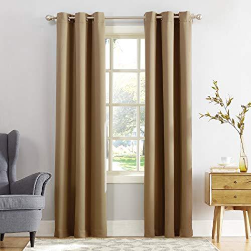"Sun Zero Easton Blackout Energy Efficient Grommet Curtain Panel, 40"" x 108"", Taupe"