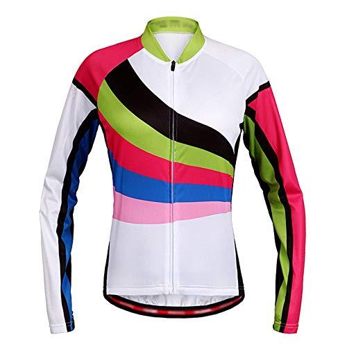 Cime Dames fietssport shirt lange mouwen ademend voor sport buiten, sneldrogend MTB-jack windjack voor fiets met doorlopende ritssluiting