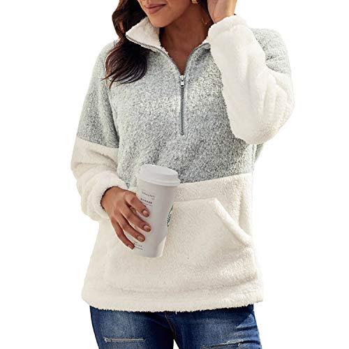 Jywmsc Mujer Sudadera Caliente y Esponjoso Tops Chaqueta Suéter Abrigo Jersey Mujer Otoño-Invierno...